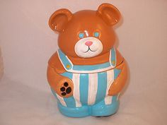 Vintage Japan Lefton HONEY BEAR FARM Ceramic Cookie Treat Jar Teddy