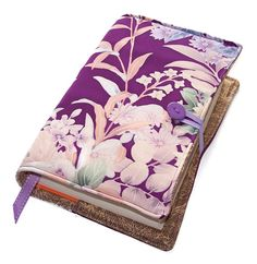 Large Book or Bible Cover Floral Purple Silk by WhimsyWooDesigns