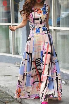 Flower Pattern Sleeveless Maxi Dress