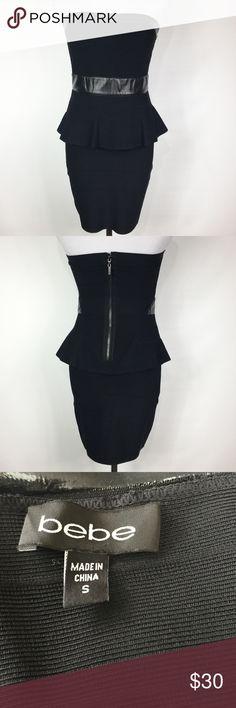 BEBE STRAPLESS BANDAGE PEPLUM DRESS GUC bebe Dresses Mini
