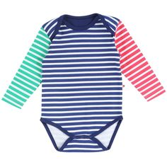 Primary stripe long sleeve bodysuit by Piccalilly in organic cotton Grenouillère  Pour Bébé 1fb048b8896