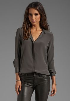 VINCE Colorblock Blouse in Fatigue/Black at Revolve Clothing - Free Shipping!