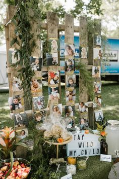 "Pallet Photo Wall from a ""Wild ONE"" Jungle Birthday Party on Kara's Party Ideas 