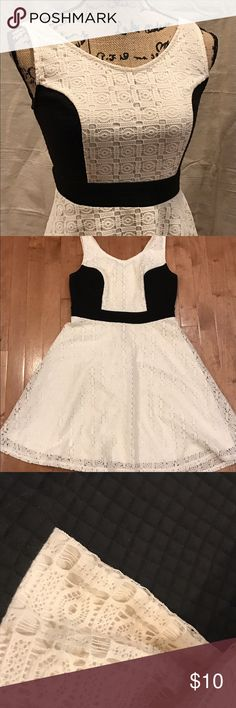 Xhiliration knit skater dress Cute combo of crocheted lace and quilted knit in this fun and flirty skater dress! Juniors size medium. Xhilaration Dresses