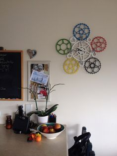 Bicycle chain ring clock brightening up our kitchen courtesy of @jibataylor :-)