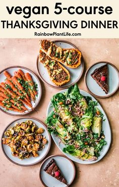 Five-Course Vegan Thanksgiving Menu (Gourmet + Easy) | Rainbow Plant Life- A complete five-course vegan Thanksgiving dinner that's gourmet yet quick and easy! Impress your family with these flavorful, unique and delicious holiday recipes while spending just three hours in the kitchen! Click for the recipe! Vegan Thanksgiving Dinner, Thanksgiving Recipes, Holiday Recipes, Baked Squash, Roasted Carrots, Sweet Potato Casserole, Food Processor Recipes, Vegan Recipes, Thing 1