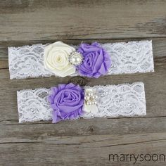 Ivory and lavender lace wedding garter set, lavender wedding garter