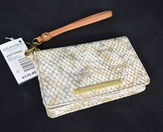 NWT! Brahmin Debi Wallet/Clutch/Wristlet in Beige Parker. Beige & Brown Leather #Brahmin #WalletWristlet