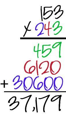Teaching 3-digit multiplication using colors.