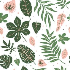 Seamless Pattern Of Tropical Leaves - Pattern Illustration Jungle, Texture Illustration, Pattern Illustration, Tropical Background, Leaf Background, Background Patterns, Natural Background, Background Images, Flower Backgrounds