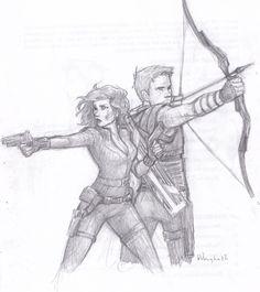 Black Widow & Hawkeye by http://burdge.tumblr.com/