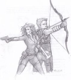 Black Widow & Hawkeye by http://burdge.tumblr.com/