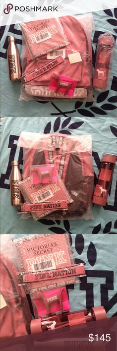 PINK Victoria's Secret Bundle Victoria's Secret PINK Bundle Set in Soft Begonia color. Comes with Backpack, planner, dog, headband, straw water bottle, and stainless steel water bottle. All new, unus (Water Bottle Bag)