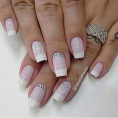 107 Designs of Elegant French Nails Decorated Easy to Learn How to Make French Manicure Step by Step Love Nails, Fun Nails, Pretty Nails, Bridal Nails, Wedding Nails, Bridal Makeup, Wedding Makeup, Nail Decorations, French Nails