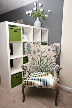 cool chair, but check out the cubby shelves as a room divider, could be the new design element in my dream sewing room