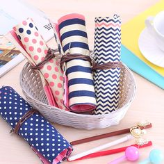 Cute Cartoon Roll-up Polka Dots Stripes Pencil Case, Pen Pouch, Cosmetic Makeup Bag.Canvas material.  USD6.49 with Free shipping!