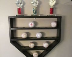 baseball shelf, hanging shelf, baseball display, baseball decor, kids baseball room, baseball storage, kids storage, home plate shelf,