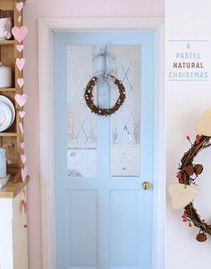 Pastel blue interior door i like the string of pink hearts too Decor, Black Interior Doors, Interior, Interior Inspiration, Bright Bazaar, Doors Interior, Home Decor, Blue Interior Doors, Dark Interiors
