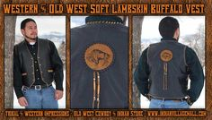 Soft Lambskin Hand Laced Buffalo Vest From Tribal And Western Impressions- Old West Cowboy And Indian Store - www.indianvillagemall.com