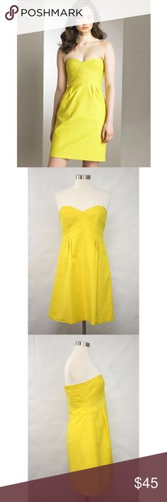"Nanette Lepore Yellow Textured Cotton Shift Dress Nanette Lepore Yellow Sleeveless Textured Cotton Shift Skater Dress.  Measurements (flat / un-stretched): Tagged Size: 12 Bust: 34""  Waist: 33"" Length (shoulder to hem): 28½"" Nanette Lepore Dresses Strapless"