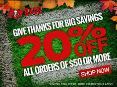 Give thanks for big savings - 20% OFF all orders of $50 or more - SHOP NOW