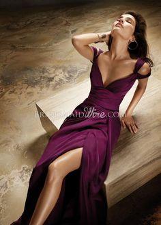 merlot v neck front and back chiffon a-line floor length bridesmaid dress