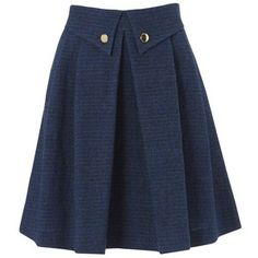 NW3 Button Down Pleated Skirt, Petrol Multi