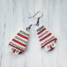 Cercei « Categorii de Produse « Mărgelușa Clay Earrings, Jewelry Making, Hand Painted, Personalized Items, Christmas Ornaments, Holiday Decor, How To Make, Handmade, Hand Made