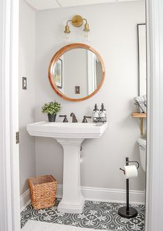 Bathroom Decor New Article Reveals The Low Down On Powder Room Ideas Small Half Baths Pedes. New Article Reveals The Low Down On Powder Room Ideas Small Half Baths Pedestal Sink 29 Vintage Modern, Modern Vintage Bathroom, Vintage Tile, Modern Bathroom Paint, Vintage Black, Modern Rustic, Vintage Kitchen, Bad Inspiration, Bathroom Inspiration