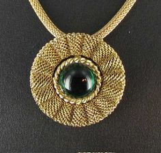 Fabulous Mesh Gold tone Green Glass Pendant by vintagejewelrylane, $16.99
