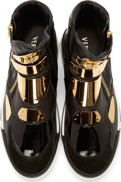 62fa1c0f5296 Versace Black Leather Gold-Plated Sneakers Versace Shoes