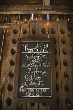 Adorable drinks signage for wedding