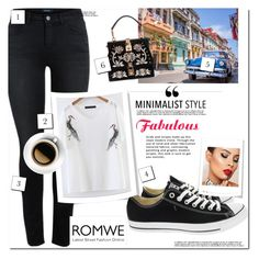 """Romwe"" by domino-39 ❤ liked on Polyvore featuring Converse, Dolce&Gabbana and Lipsy"