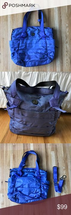 Lululemon Triumph tote! My first ever lululemon purchase! Great gym bag for all your stuff! Mesh pockets on the inside! Never before used cross body strap and GUC shoulder straps minimal wear! GUC! Some stains due to it being loved and used on the inside. 💜🍉🌳✨🙌🏻😍 lululemon athletica Bags Totes