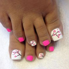 What Christmas manicure to choose for a festive mood - My Nails Pretty Toe Nails, Cute Toe Nails, Hot Nails, Hair And Nails, Toe Nail Color, Toe Nail Art, Nail Colors, Beach Nail Designs, Diy Nail Designs