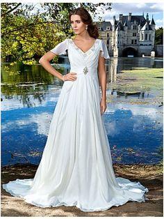 Short Sleeves V Neck Beaded White Outdoor Wedding Dress