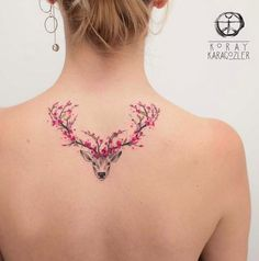 Deer with Pink Floral Antlers | Tattoo Ideas