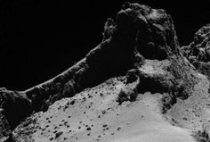 "Is Rosetta's comet falling apart? - Just as we are really getting to known comet 67P, it may be leaving us. The European Space Agency's Rosetta mission is currently visiting the ""Rubber Ducky"" comet and newly released images show a meter-wide crack running over 100 meters (328 feet) along the comet's ""neck"" that could lead to its disintegration. Read more at http://www.redorbit.com/news/space/1113321855/is-rosettas-comet-falling-apart-012715/#8xdezkwmKjAlA6mW.99"