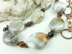 Botswana Banded Agate Nugget Copper Beaded Necklace 28 inch @dianesdangles