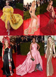 Rihanna, Beyonce, Jennifer Lopez, Sarah Jessica Parker, & Kerry Washington, & Anne Hathaway at the 2015 Met Gala.