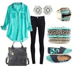 Blouse: aqua blue black pants shirt bag purse outfit shoes jewels