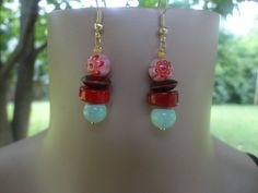 Handmade Red Coral , Wood , Porcelain and Glass Flower Bead Earrings #Handmade #DropDangle