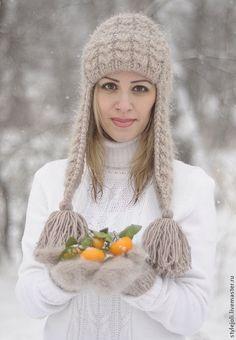 Купить Шепот степей Хакасии- вязаная шапка с ушками на подкладе - бежевый, шапка, шапка вязаная