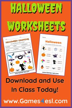 Halloween Worksheets For Kids. Download and use in Class today. All these Halloween worksheets are absolutely free. Happy Halloween! Halloween Vocabulary, Halloween Worksheets, Halloween Activities, Halloween Word Search, Halloween Words, Happy Halloween, Esl Worksheets For Beginners, Worksheets For Kids, Bingo Sheets
