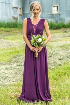 Long Purple Sheer Lace Detail Bridesmaid Dress for Country Wedding