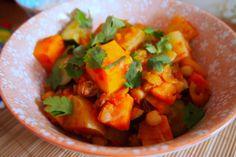 Groen in het seizoen: stoofschotel met zoete aardappel, kikkererwten en koolrabi