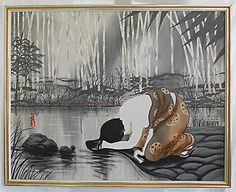 Erotic-Japanese-Geisha-Vintage-Oil-Painting-Washing-Hair-Nude-Shoulders-Signed