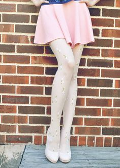 White floral tights with little green and pink flowers on it - A MUST HAVE in Summer (11.99 USD) by ActCute2013