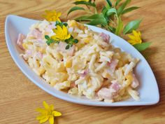 Sałatka królewska Chicken Salad, Pasta Salad, Feta, My Favorite Food, Favorite Recipes, Polish Recipes, Polish Food, Salmon Recipes, Italian Recipes