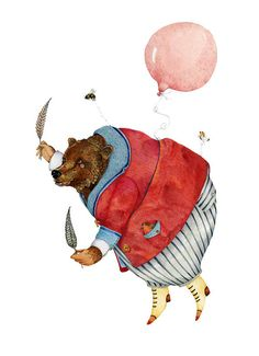 tracey long - Bear Print Bear with a Balloon Illustration 8x11
